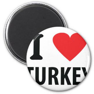 I love turkey 6 cm round magnet
