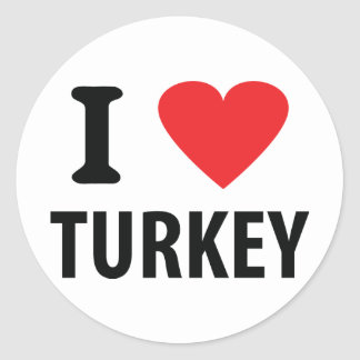 I love turkey classic round sticker