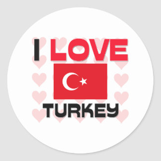 I Love Turkey Classic Round Sticker