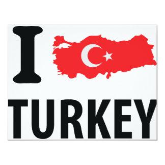 I love turkey contour icon 11 cm x 14 cm invitation card