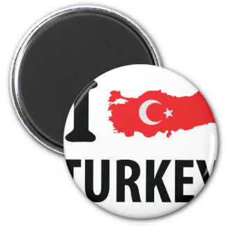 I love turkey contour icon 6 cm round magnet