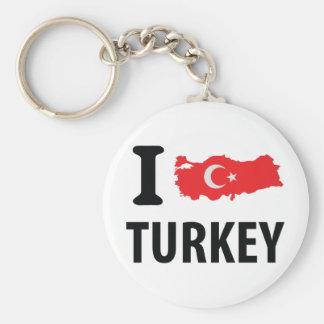 I love turkey contour icon basic round button key ring