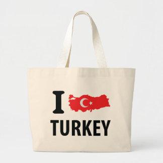 I love turkey contour icon jumbo tote bag