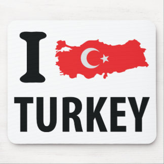 I love turkey contour icon mouse pads