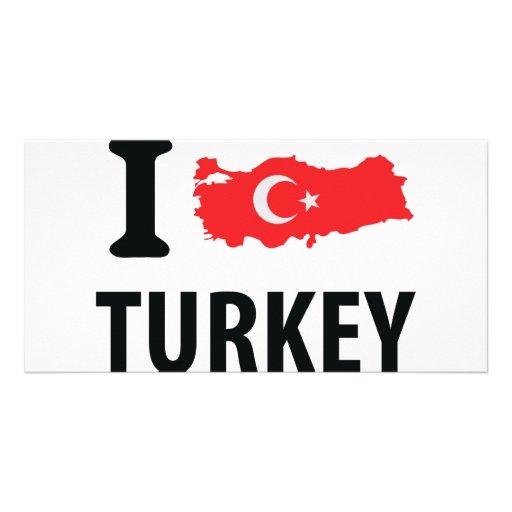 I love turkey contour icon photo card