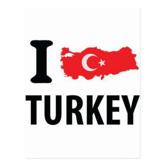 I love turkey contour icon postcard