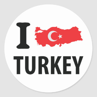 I love turkey contour icon round sticker