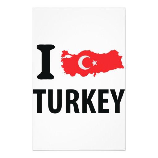 I love turkey contour icon personalized stationery