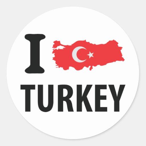 I love turkey contour icon round stickers