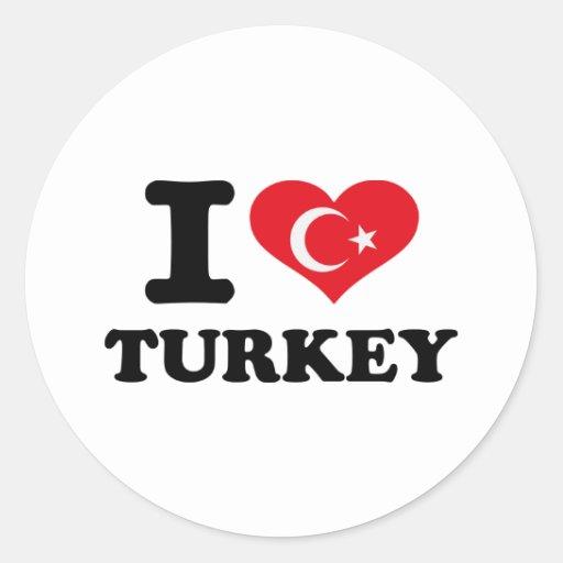 I love Turkey flag Round Sticker