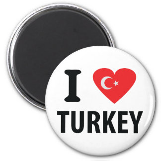I love turkey icon 6 cm round magnet