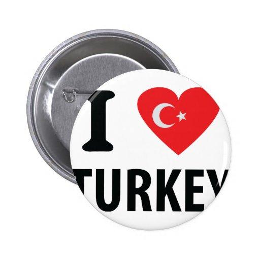 I love turkey icon pinback button