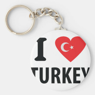 I love turkey icon basic round button key ring