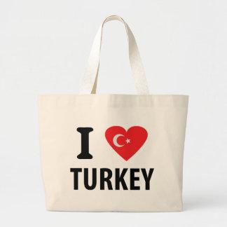 I love turkey icon jumbo tote bag