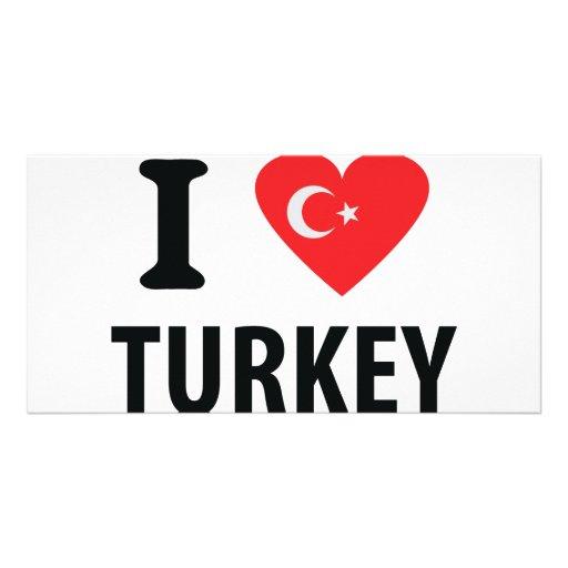 I love turkey icon custom photo card