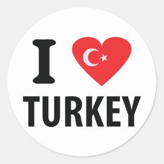 I love turkey icon round sticker