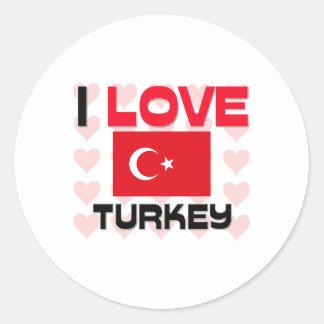 I Love Turkey Round Sticker