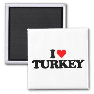I LOVE TURKEY SQUARE MAGNET