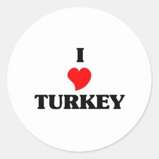 I Love Turkey Round Stickers