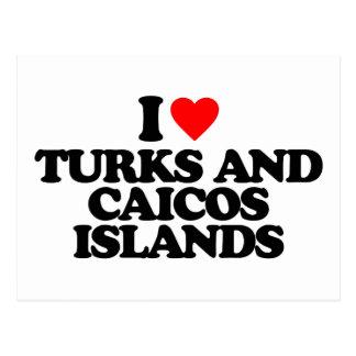I LOVE TURKS AND CAICOS ISLANDS POSTCARDS