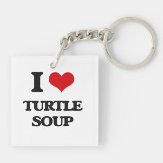 I love Turtle Soup Double-Sided Square Acrylic Keychain