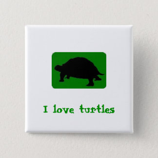 I love turtles 15 cm square badge