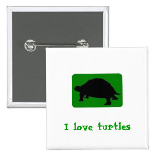 I love turtles 15 cm square badge
