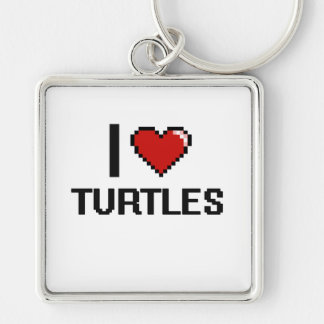 I love Turtles Digital Design Silver-Colored Square Key Ring
