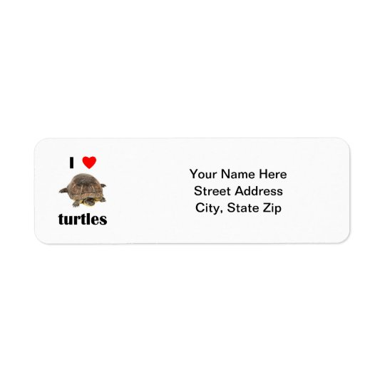 I Love Turtles Return Address Label