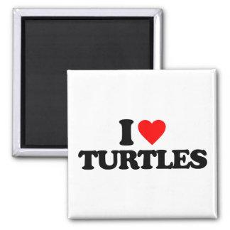 I LOVE TURTLES SQUARE MAGNET