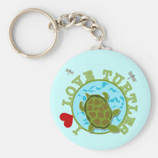 I Love Turtles Tshirts and Gifts Key Chains