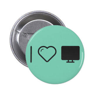 I Love Tv Monitors 6 Cm Round Badge