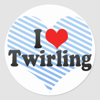I Love Twirling Classic Round Sticker