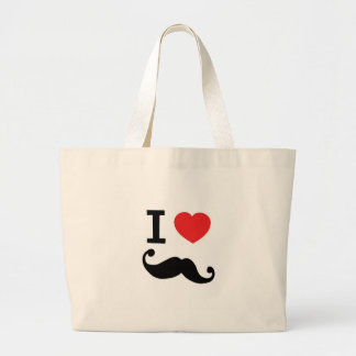 I Love twirly mustache Large Tote Bag