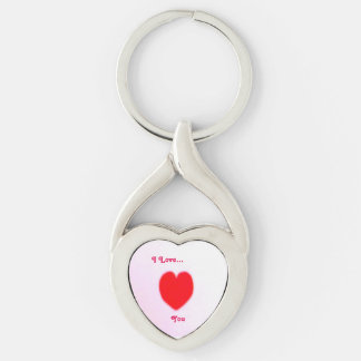 I Love... Twisted Heart Silver-Colored Twisted Heart Key Ring