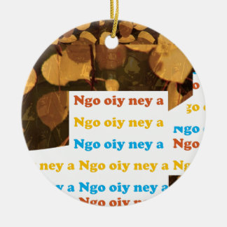 I LOVE U: CANTONESE CHINA Language Culture Chinese Double-Sided Ceramic Round Christmas Ornament