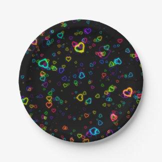 I Love U - Happy Neon Paper Plate