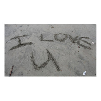 I Love U In The Sand Business Card