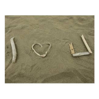 I love U on the beach Postcard