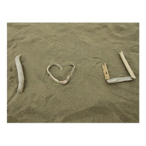 I love U on the beach Postcards