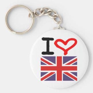 I love UK Basic Round Button Key Ring