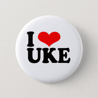 I Love Uke Ukulele Button Badge