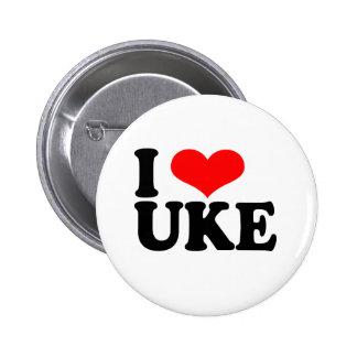 I Love Uke Ukulele Button Badge