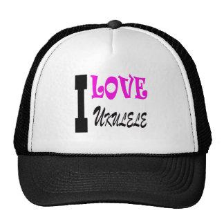 I Love ukulele Mesh Hats