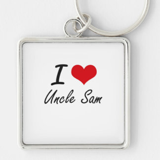 I love Uncle Sam Silver-Colored Square Key Ring