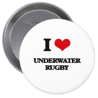 I Love Underwater Rugby Pin
