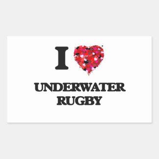 I Love Underwater Rugby Rectangular Sticker