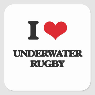 I Love Underwater Rugby Square Sticker