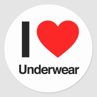 i love underwear round sticker