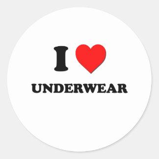 I love Underwear Round Stickers